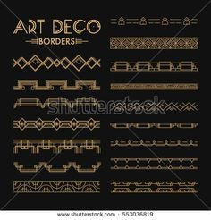 Set of Art deco patterns and ornaments. Creative template in style of for your design. EPS 10 Set of Art deco patterns and ornaments. Creative template in style of for your design. Art Deco Font, Motif Art Deco, Art Deco Pattern, Art Deco Design, Bullet Journal Art, Bullet Journal Inspiration, Art Deco Illustration, Illustrations, Fuente Art Deco