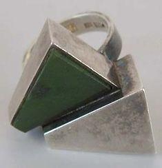"""Kaunis Koru (FI), vintage modernist sterling silver and jade ring. | Deja-Voodoo • Kaunis Koru """