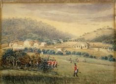 Depiction of the British attack of Te Kapotai Pā. By G. Bridge. From the Alexander Turnbull Library ref. A-079-004.