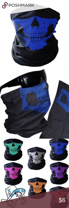 Blue & Black Skill Face Mask Dust, Wind, Halloween 1/pc (Choice of Color) Mask Motorcycle Scarf Ski Headwear Neck Outdoor Sport Masks Windproof Breathable Skull Mask Motorcycle Scarf Ski Headwear Neck Outdoor Sport Masks Cycling Bandana   Condition:100% brand new and high quality Material: Polyester Fiber Color: Blue/Black Pattern: Skull Feature: * Windproof, breathable, absorbent, quick-drying, soft * Can be used as a scarf, headband, bandana, sandstorm cover, no eaves round hat, hood…