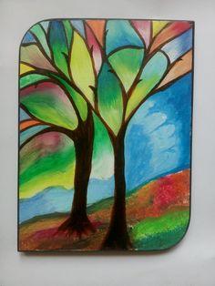 Modern Art wood acrylic painting