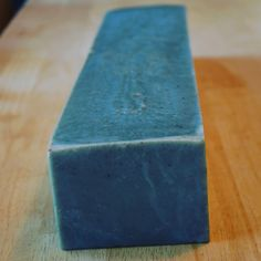 A loaf of Wild Maine Blueberry Soap, made with real #maine #blueberry and colored with #natural #indigo.  #mainenaturals #mainebiz #mainemade #madeinmaine #mainemakers #handmade #handmadesoap #handcraftedsoap #skinlove #healthy #naturalliving #soapshare #soapart #soapbiz #soaplove #local #localingredients #shoplocal #gardinermaine