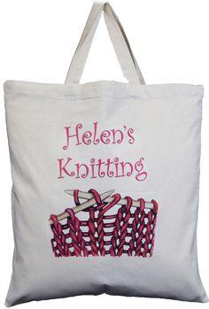PERSONALISED KNITTING BAG - Pink Design - NATURAL COTTON SHORT HANDLED TOTE BAG