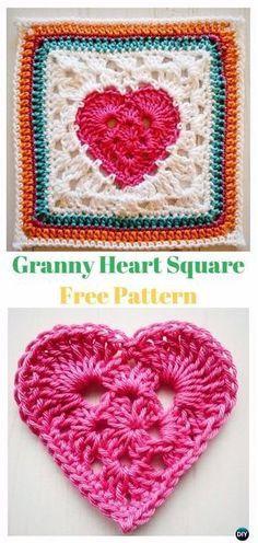 Crochet Granny Heart Square Free Pattern - Crochet Heart Square Free Patterns
