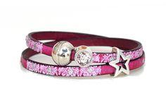 Armbänder - Armband Leder in pink mit Print, Stern & St... - ein Designerstück von AT-Schmuck bei DaWanda