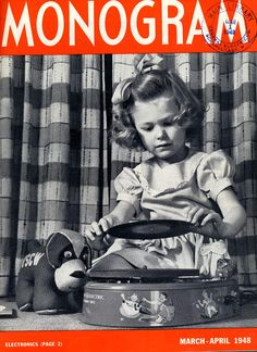 Flashback to 1948 with this Monogram magazine cover showing a young girl playing with a GE phonograph.