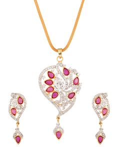 Adorable Pendant Set With Glittering Cz Stones