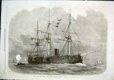 Antique Sailing Prints | Screw Corvette Pallas Antique Print 1866 Ships