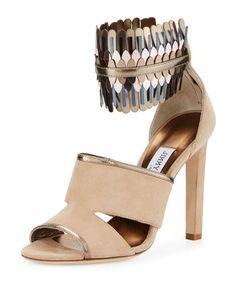X3KS3 Jimmy Choo Klara Suede Ankle-Wrap 110mm Sandal, Beige