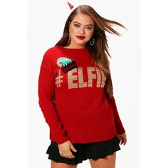 Boohoo Plus Eve Elfie Christmas Jumper (€14) ❤ liked on Polyvore featuring tops, sweaters, boohoo tops, christmas sweaters, acrylic sweater, xmas sweaters and red top