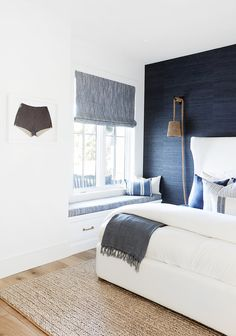 Take a look at Pure Salt's latest project in Eastbluff, Newport Beach! Dark Blue Bedrooms, Navy Bedrooms, Guest Bedrooms, Guest Room, Coastal Bedrooms, Master Bedrooms, Luxurious Bedrooms, Master Bathroom, Blue Feature Wall Bedroom