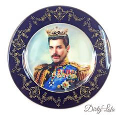 Vintage - Illustrated - Freddie Mercury - Queen - Plate - Wall Display - Altered Plate - Antique - Upcycled - Art. $55 on Etsy.