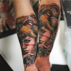 Cool mixup by Gordon Patterson and Liam. #inked #inkedmag #tattoo #collaboration #art #idea #mixup