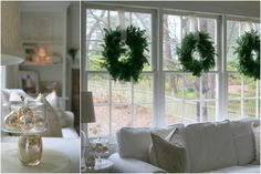 LOVE boxwood wreaths hung in front of windows! : LOVE boxwood wreaths hung in f… – Boxwood Wreath İdeas. Merry Christmas Friends, Noel Christmas, All Things Christmas, Christmas Ideas, Simple Christmas, White Christmas, Holiday Ideas, Turquoise Christmas, Natural Christmas