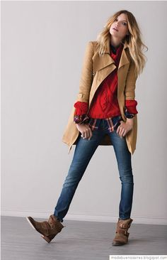 Camel trench, red chunky sweater, matching flannel, skinnies, ankle booties,