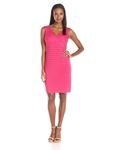 Adrianna Papell Womens Directional Banding Sheath Dress Hibiscus 12 >>> See this great product. (This is an affiliate link and I receive a commission for the sales)