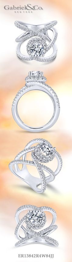 Gabriel NY - Preferred Fine Jewelry and Bridal Brand. Our gorgeous 14k White Gold Round Halo NOVA Engagement ring. This contemporary and modern will be perfect for women who are bold and head-strong and seek non-traditional rings. Find your nearest retailer-> https://www.gabrielny.com/storelocator