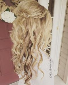 Braided updo / half up half down /romantic / loose curls / blonde hair updo / br... by kelli