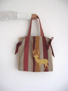 Striped taupe wine red gold deer large tote door TalesSweetTale, $46.00
