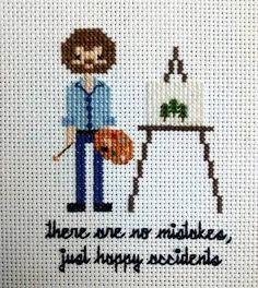DIY Bob Ross Cross Stitch $5.00 Pattern from Etsy Seller...