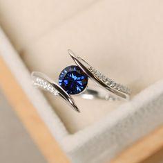 Lab sapphire ring wedding ring sapphire wedding ring
