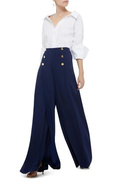 Tailored for a wide-leg fit, Ralph Lauren's 'Montaine' pants are an elevated take on a classic workwear staple. They're cut from satin-backed crepe and designed with a high-rise waist, polished gold #buttons and #daring slits down the front. Pumps will keep the floor-sweeping hem from dragging when you #walk.