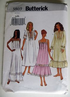 Butterick 3869 Nightgowns 4 styles  D+C. Loose-fitting long nightgowns have 2f7bdc30e