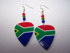 omg the height of coolness, south african guitar pick earrings I Am An African, South African Flag, Africa Flag, Diy Jewellery, Jewelery, All The Colors, Painted Rocks, Earrings Handmade, Drop Earrings