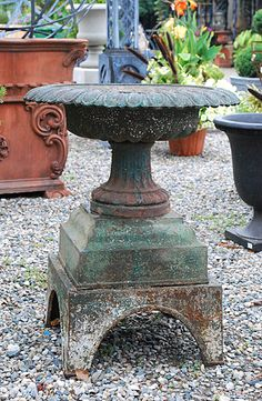Cast Iron Urn on Pedestal | Online Garden Store