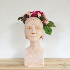 Head Planter Face of Woman Terra cotta by morphingpot on Etsy