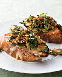Brussels Sprouts and Smoky Onions on Cheddar Toast | Deborah Madison owes her success to simple, inventive recipes like this open-faced sandwich, for which she cooks onions with smoked paprika until they're soft, sweet and rich in flavor.