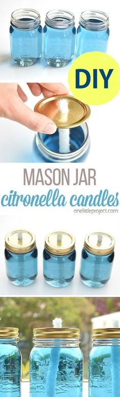 These mason jar citronella candles are REALLY EASY and they really keep the bugs away! What a fun and beautiful summer project! DIY some for a party, garden wedding, gifts or home decor!