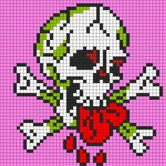 Ed Hardy Love Dies Hard For Perler Perler Bead Pattern / Bead Sprite Pixel Art Templates, Perler Bead Templates, Pearler Bead Patterns, Diy Perler Beads, Perler Bead Art, Perler Patterns, Loom Patterns, Beading Patterns, Pearler Beads