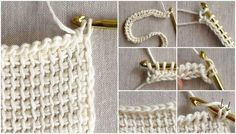 Dear knight and hobbyist ladies today how to do tunisian work, how to do tunisian knitting work to illustrate it step by step Crochet Quilt, Crochet Blocks, Crochet Cross, Tunisian Crochet, Knit Or Crochet, Crochet Scarves, Knitting Stitches, Knitting Patterns, Crochet Squares