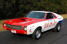"Joe Brown says, ""I was quite spellbound that a friend of mine, Bob Reisinger, was building an exact replica of Shirley's 1969 AMC AMX. Carrera Slot Cars, 60s Muscle Cars, Female Dragon, Dragon Lady, Amc Gremlin, Revell Model Kits, American Motors, Drag Cars, Car Ford"