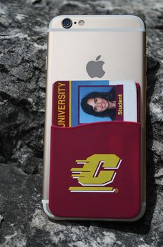 Flying C Maroon Self Adhesive Silicone Id Case Central Michigan
