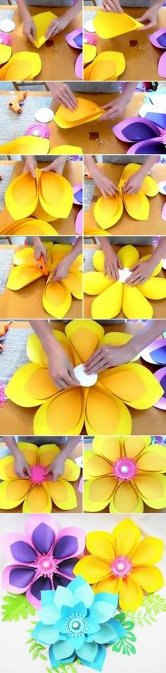 Easy Giant Paper Flower Tutorial Lately my home studio has been overflowing with new flower designs. I think my … Easy Giant Paper Flower Tutorial Lately my home studio has been overflowing with new flower designs. I think my … Kids Crafts, Diy And Crafts, Arts And Crafts, Kids Diy, Tape Crafts, Giant Paper Flowers, Diy Flowers, Flower Diy, Flower Paper