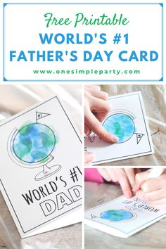 Let Dad know that he's #1 in the World this Father's Day with this Free Printable Father's Day Card. Turn into a craft project by adding fingerprints or having your kids color the card. It's sure to make Dad's day extra special. #fathersdaycarddiy #fathersdaycardprintable #fathersdaycardhandmade Diy Crafts For Gifts, Easy Crafts For Kids, Art For Kids, Arts And Crafts, Craft Projects, Craft Ideas, Father's Day Diy, Dad Day, Diy Presents