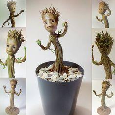 Bébé Groot la figurine en argile polymère par NightSculptor