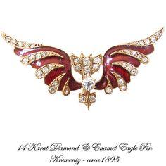 14K Diamond Enamel Flying Eagle Pin Antique Jewelry Krementz by AntiquingOnLine, $1200.00 at https://www.etsy.com/listing/22909003/14k-diamond-enamel-flying-eagle-pin