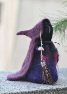Needle Felted Doll Waldorf -Halloween Decoration--Halloween Witch-Doll-standing doll -needle felt by Daria Lvovsky
