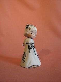 Jasco Porcelain Angel with Bell 4 inches High Blue & White