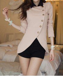 10.54!? Ladylike Style Long Sleeves Irregular Solid Color Single-Breasted Coat For Women