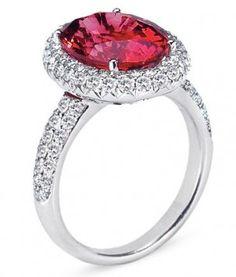 Vanna K Pink Tourmaline & Diamond Halo Ring