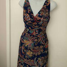 Print dress Royal blue print dress comfy rushing on stomach beautiful streachy lined Ralph Lauren Dresses Midi