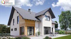 Fingerhut Einfamilienhaus schwarzes Satteldach weiß verputzt mit Holzverschalung teilweise bodentiefe Fenster Terrasse Terrassenmöbel