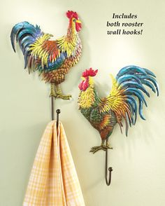 Ordinaire Country Rooster Wall Hooks   Set Of 2