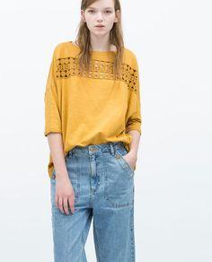 Image 2 of GUIPURE T-SHIRT from Zara