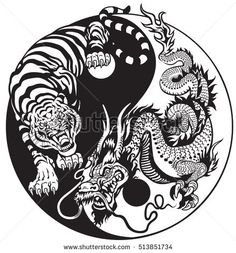 dragon and tiger yin yang symbol of harmony and balance . Black and white vector illustration Dragon And Tiger Tattoo, Tiger Dragon, Dragon Art, Dragon Tattoo Black And White, Dragon Yin Yang Tattoo, Dragon Tattoos, Black Dragon, Ying Yang, Arte Yin Yang