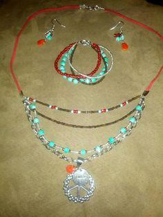 Necklace, earring, bracelet set beautiful.